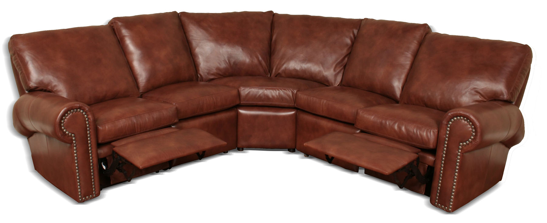Phoenix reclining leather sectional for Reclining sectional sofa with ottoman