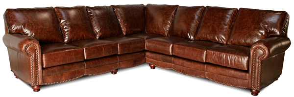 Brown-leather-sectional-traditional