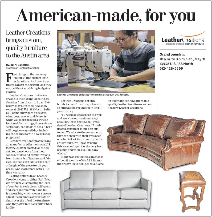 Leather Furniture Sofas Sectionals  Reclining Furn In Austin - Custom furniture austin