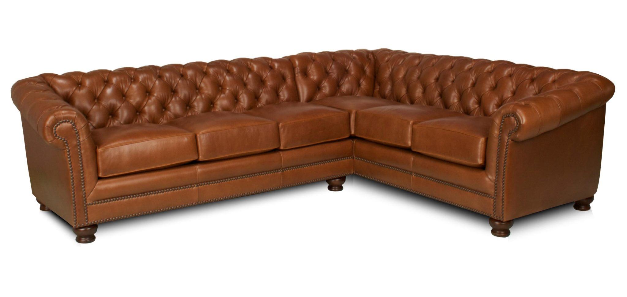 Chesterfield leather sectional Leather chesterfield loveseat